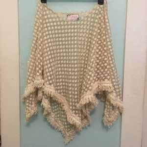 Free People shear creme poncho